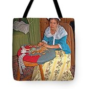 Woman Making Lace In Louisbourg Living History Museum-1744-ns Tote Bag
