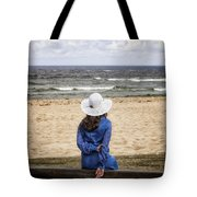 Woman On A Bench Tote Bag