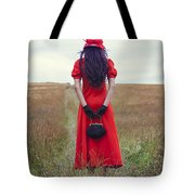 Woman On Field Tote Bag