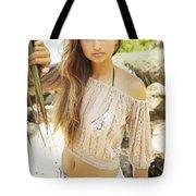 Woman On Hawaiian Beach Tote Bag