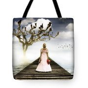 Woman On Pier Tote Bag