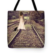 Woman On Railway Line Tote Bag