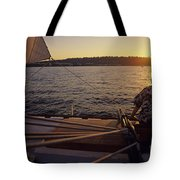 Woman On Sailboat Sunset Tote Bag