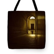 Woman On Stairs Tote Bag by Chevy Fleet