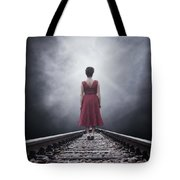 Woman On Tracks Tote Bag