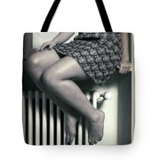Woman On Window Sill Tote Bag