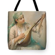 Woman Playing A String Instrument Tote Bag