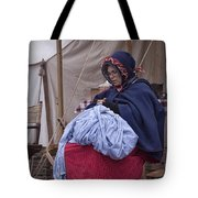 Woman Reenactor Sewing In A Civil War Camp Tote Bag