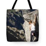 Woman Rock Climbing, India Tote Bag