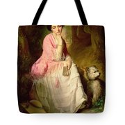 Woman Seated In A Forest Glade Tote Bag