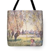Woman Seated Under The Willows Tote Bag