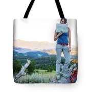 Woman Shows Off Her Mountain Drawing Tote Bag
