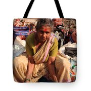 Woman Sifting In A Street Market India Tote Bag
