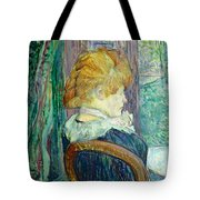 Woman Sitting In A Garden Tote Bag