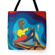 Woman Sitting In Chair Surrounded By Female Spirits Tote Bag