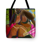 Woman Sitting On Cube Tote Bag