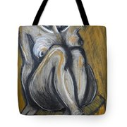Woman Sitting On Round Chair 2- Female Nude  Tote Bag