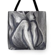 Woman Sitting On Round Chair - Female Nude Tote Bag