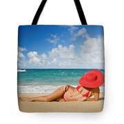 Woman Sitting On The Beach Tote Bag
