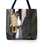 Woman Speak With Her Dog Tote Bag
