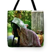 Woman Spinning Wool Tote Bag