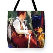 Woman Spinning Yarn At Flea Market Tote Bag