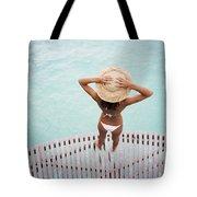 Woman Standing On Dock Tote Bag
