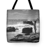 Woman Waving On Shore Tote Bag