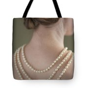 Woman Wearing A Pearl Necklace Tote Bag