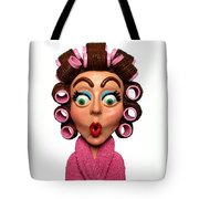 Woman Wearing Curlers Tote Bag