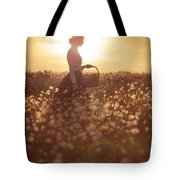 Woman With A Wicker Basket At Sunset Tote Bag