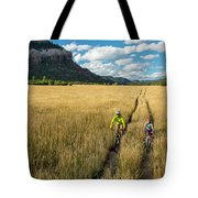 Woman With Daughter Riding Mountain Tote Bag