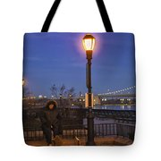 Woman With Her Dogs Tote Bag