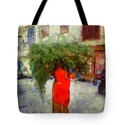 Woman With Ker Leaves India Rajasthan Jaisalmer Tote Bag
