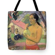 Woman With Mango Tote Bag