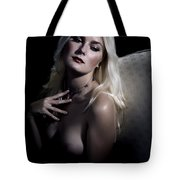 Woman With Nude Breast In Chair 1286.03 Tote Bag