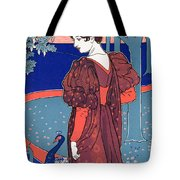 Woman With Peacocks Tote Bag