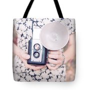 Woman With Vintage Camera Tote Bag