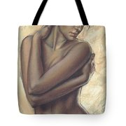Woman With White Drape Crop Tote Bag by Zorina Baldescu
