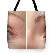 Womans Eye With And Without Wrinkles Tote Bag