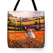 Women Gathering Poppies In Tuscan Tote Bag