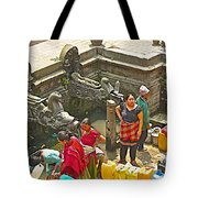 Women Get Bagmati River Holy Water From Ornate Fountains In Patan Durbar Square In Lalitpur-nepal  Tote Bag