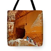 Women Leaving A Storage Place Near The Treasury In Petra-jordan Tote Bag