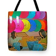 Women Working Together At Borsang Umbrella And Paper Factory In Chiang Mai-thailand Tote Bag