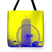 Wonderwheel In Blue And Yellow Tote Bag