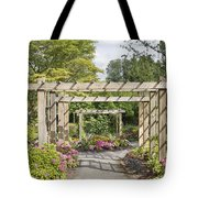 Wood Arbor Over Garden Path Tote Bag