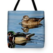 Wood Duck Pair Swimming Tote Bag