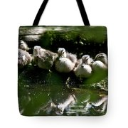 Wood Ducklings On A Log Tote Bag