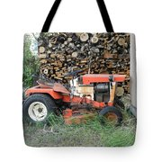 Wood Pile And Lawn Tractor Tote Bag