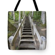 Wood Staircase In Hiking Trail Tote Bag